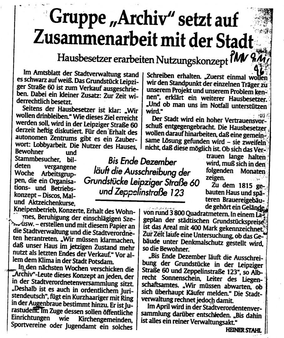 Zeitungsartikel vom 09.11.96
